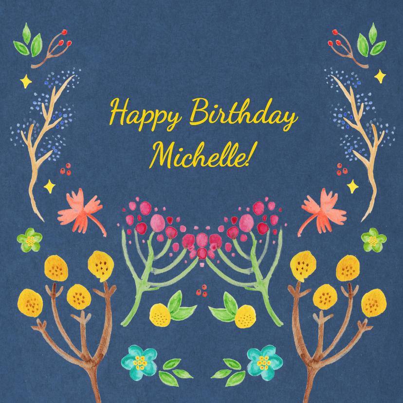 Verjaardagskaarten - Verjaardagskaart Vrouw Aquarel