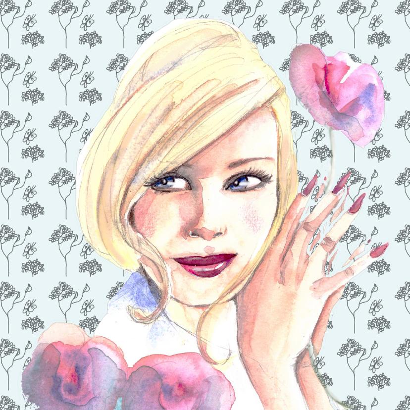 Verjaardagskaarten - Verjaardagskaart vrouw bloem