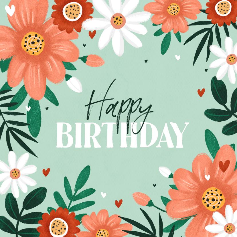 Verjaardagskaarten - Verjaardagskaart vrouw bloemen hartjes happy birthday