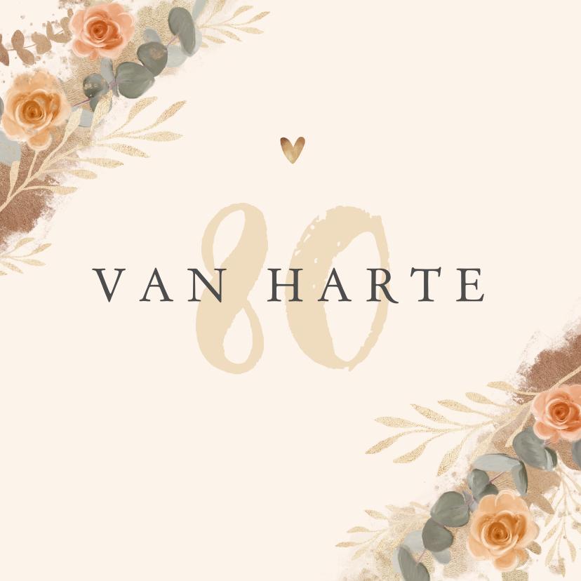 Verjaardagskaarten - Verjaardagskaart vrouw bloemen stijlvol klassiek goud