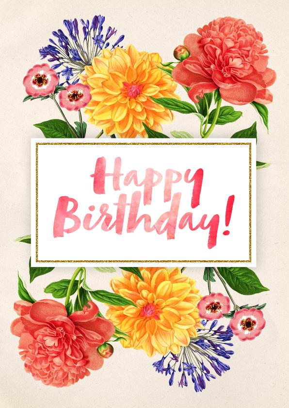 Verjaardagskaarten - Verjaardagskaart vrouw Botanisch