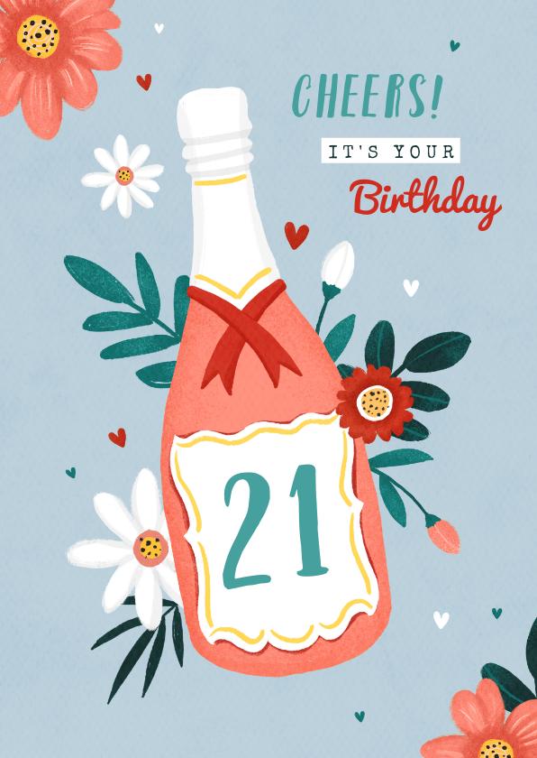 Verjaardagskaarten - Verjaardagskaart vrouw champagne bloemen hartjes
