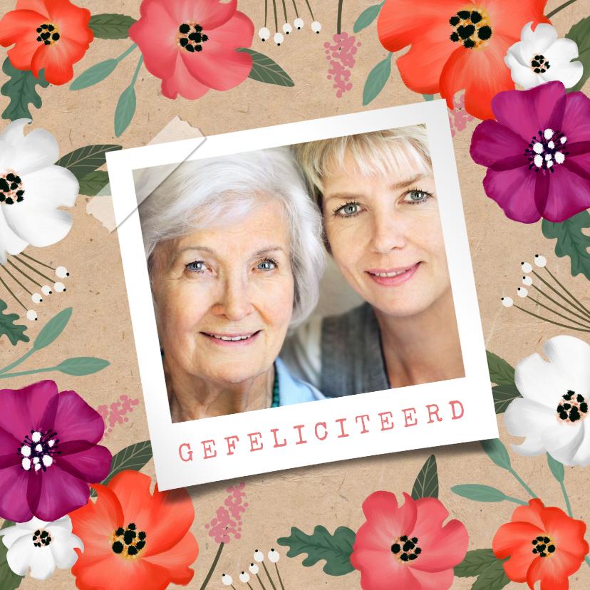 Verjaardagskaarten - Verjaardagskaart vrouw hip bloemen senior kraft