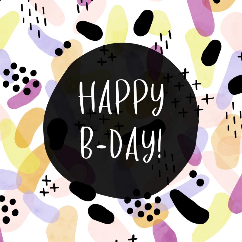 Verjaardagskaarten - Verjaardagskaart vrouw met patroon, plusjes en stippen