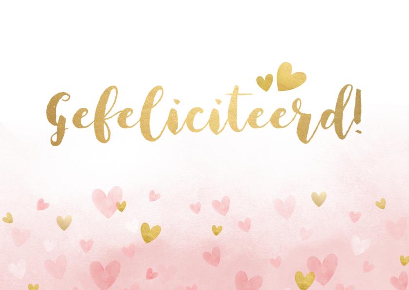 Verjaardagskaarten - Verjaardagskaart vrouw - roze waterverf met gouden hartjes