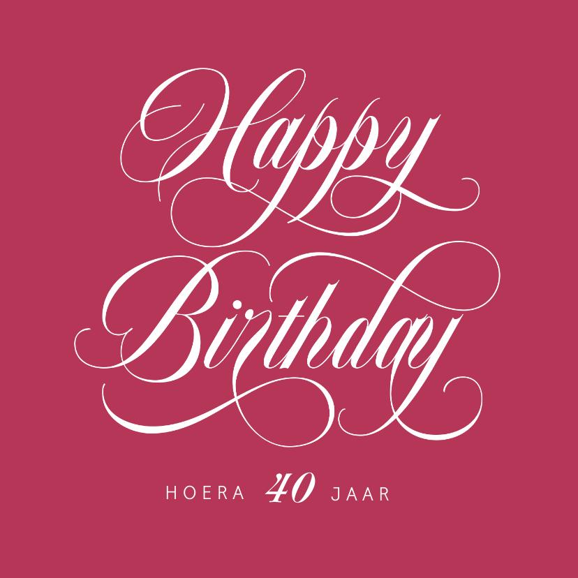 Verjaardagskaarten - Verjaardagskaart vrouw stijlvol kalligrafie kleur