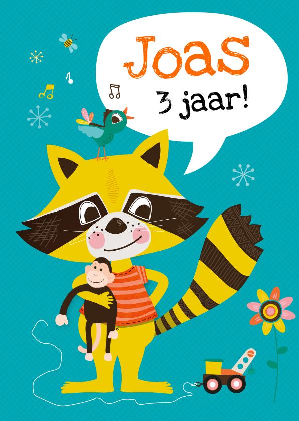Verjaardagskaarten - Verjaardagskaart wasbeer