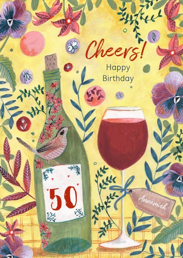 Verjaardagskaarten - Verjaardagskaart wijn en bloemen