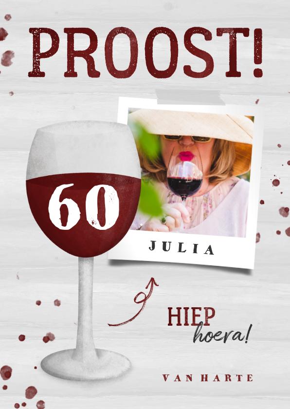Verjaardagskaarten - Verjaardagskaart wijnglas met foto en leeftijd