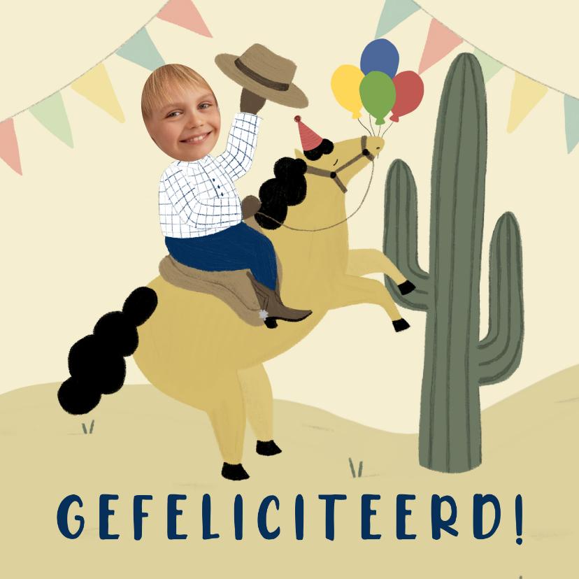 Verjaardagskaarten - Verjaardagskaart woestijn met paard, cactus en foto's