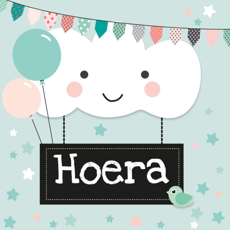 Verjaardagskaarten - Verjaardagskaart wolkje hoera