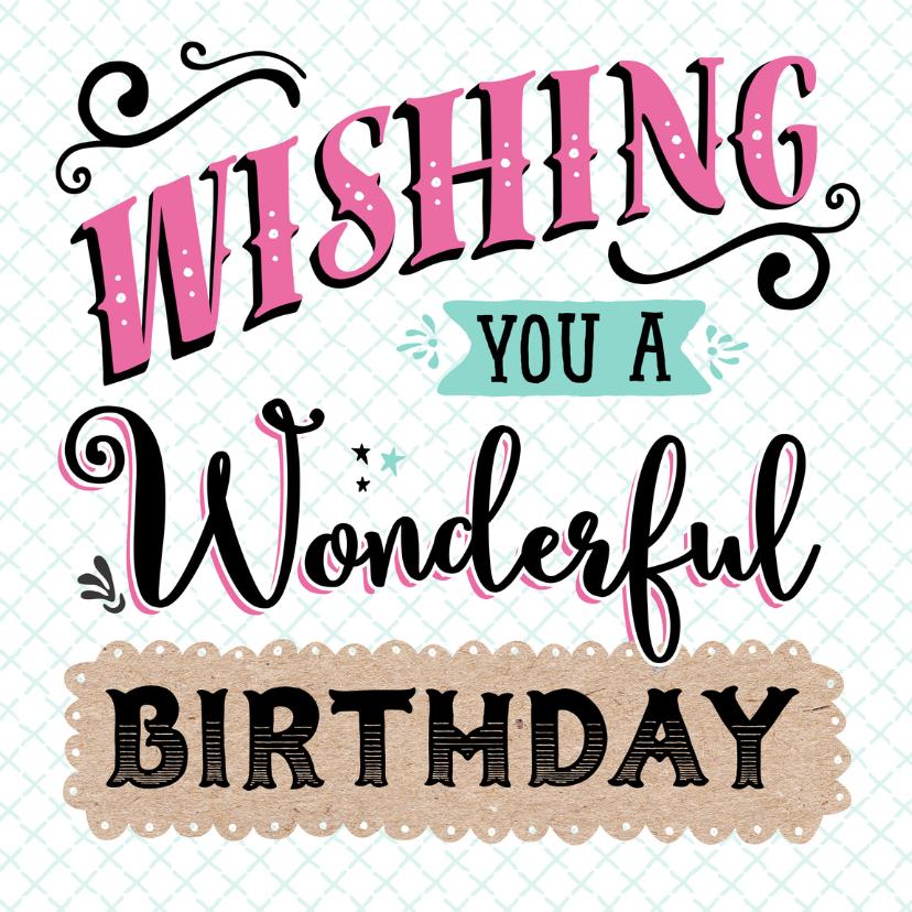 Verjaardagskaarten - Verjaardagskaart Wonderful