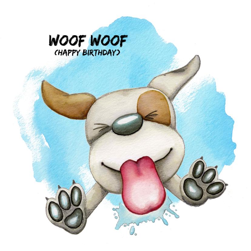 Verjaardagskaarten - Verjaardagskaart Woof Woof likkende hond