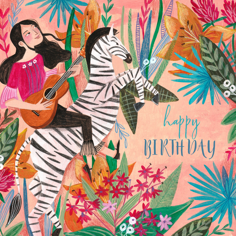 Verjaardagskaarten - Verjaardagskaart zebra met botanisch bloemen