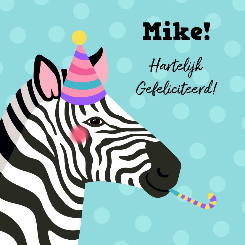 Verjaardagskaarten - Verjaardagskaart zebra met feesthoed