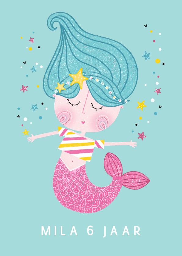 Verjaardagskaarten - Verjaardagskaart zeemeermin zeesterren aqua