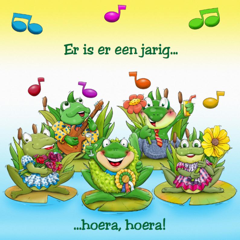 Verjaardagskaarten - Verjaardagskaart Zingende kikkers, die iemand feliciteren