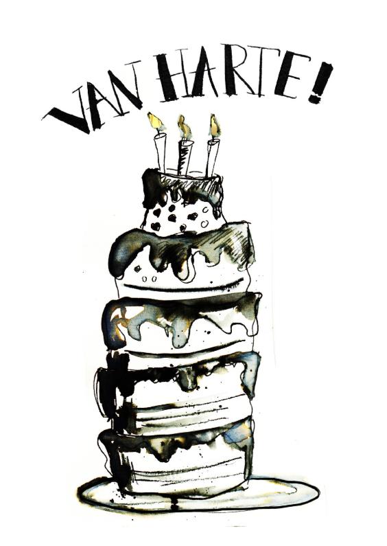 Verjaardagskaarten - verjaardagskaart zwart wit taart