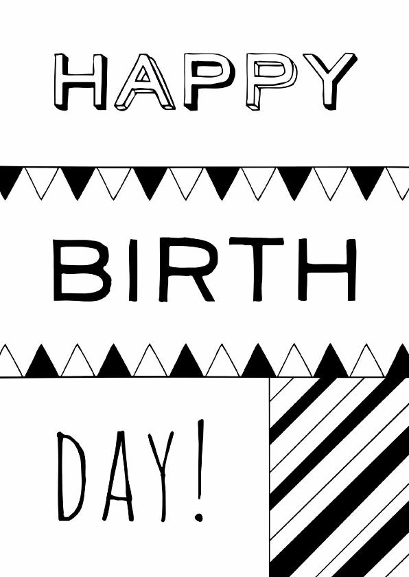 Verjaardagskaarten - Verjaardagskaart zwartwit