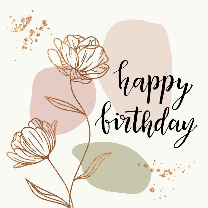 Verjaardagskaarten - Verjaardagskaarten - Bloemen in goudlook