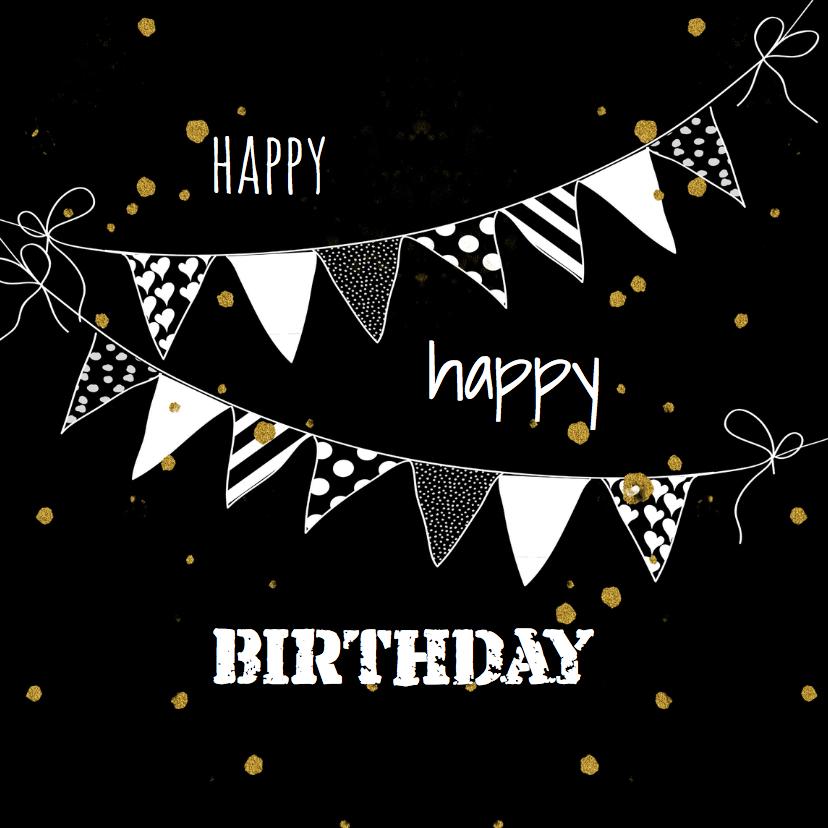 Verjaardagskaarten - Verjaardagskaarten Confetti goud yo