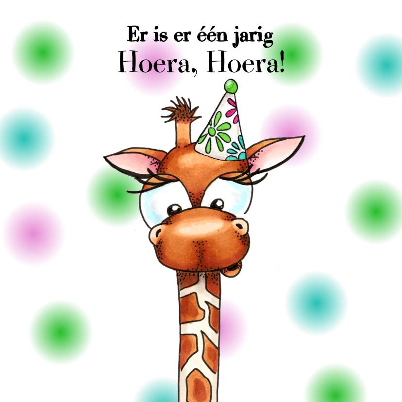 Verjaardagskaarten - Verjaardagskaarten giraffe met feesthoedje