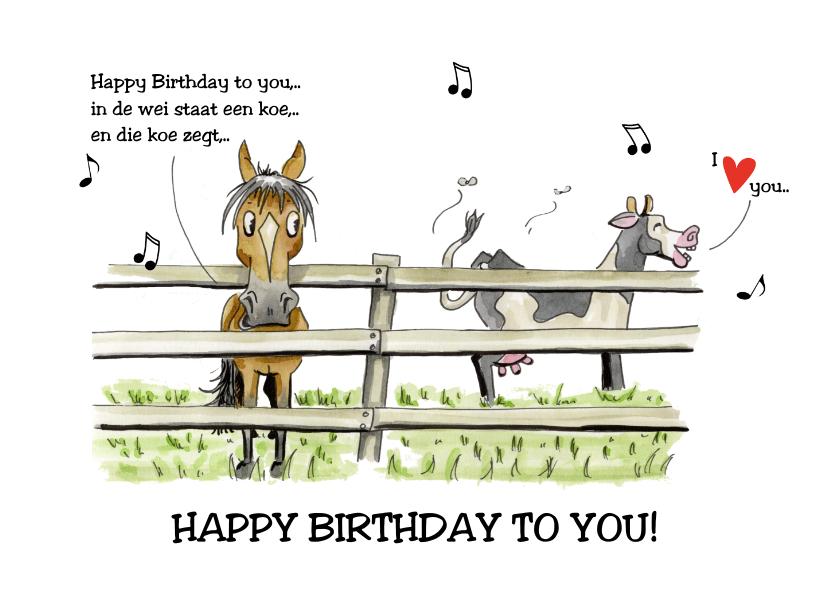 Verjaardagskaarten - Verjaardagskaarten in de wei staat een koe