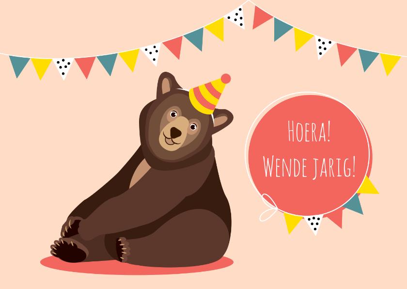 Verjaardagskaarten - Verjaardagskaartje met vrolijk lachende beer
