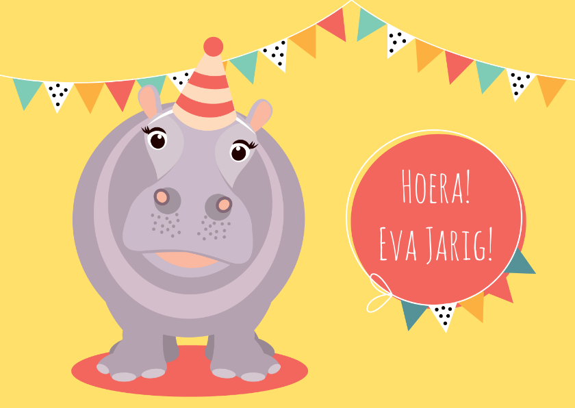 Verjaardagskaarten - Verjaardagskaartje met vrolijk nijlpaard