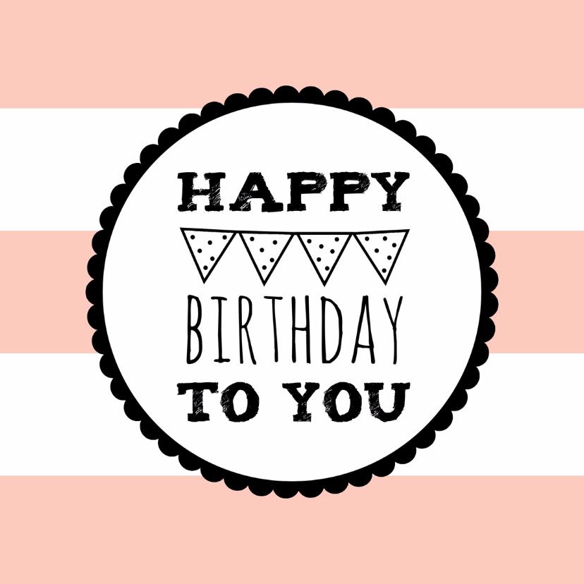 Verjaardagskaarten - Verjaardagskaartje Roze Vlag -WW