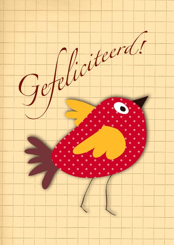 Verjaardagskaarten - Verjaardagsvogel retro helderrood