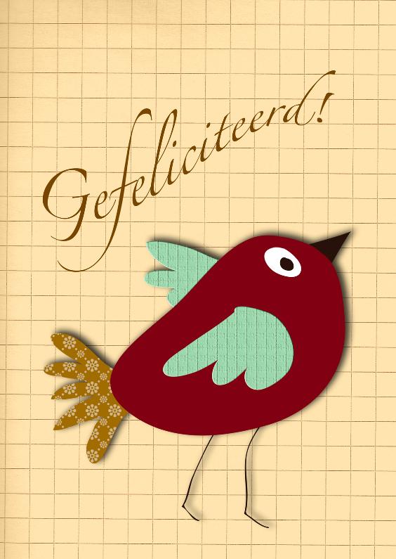 Verjaardagskaarten - Verjaardagsvogel retro wijnrood