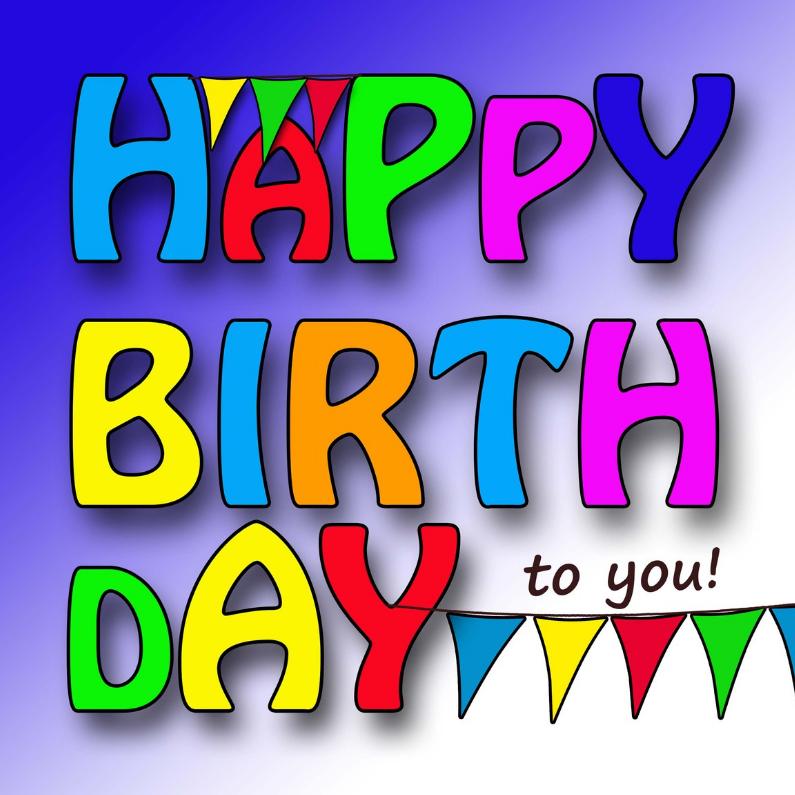 Verjaardagskaarten - Verjaarskaart kleurige letters