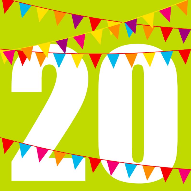 Verjaardagskaarten - verjardaagskaart 20 met vlaggen
