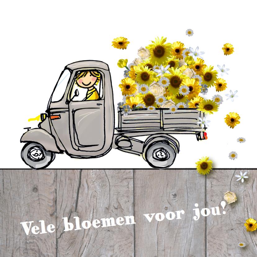 Verjaardagskaarten - Vespa Ape met gele bloemen