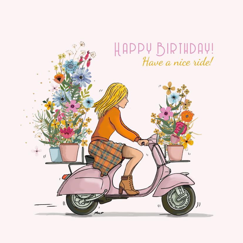 Verjaardagskaarten - Vespa scooter meisje tulpen