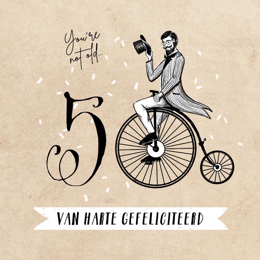 Verjaardagskaarten - Vintage verjaardagskaart 50 jaar fiets man confetti