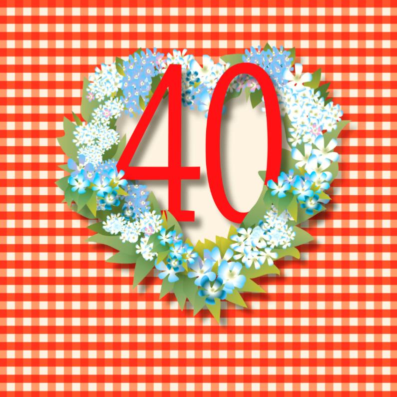 Verjaardagskaarten - VintageBloemen40jaar