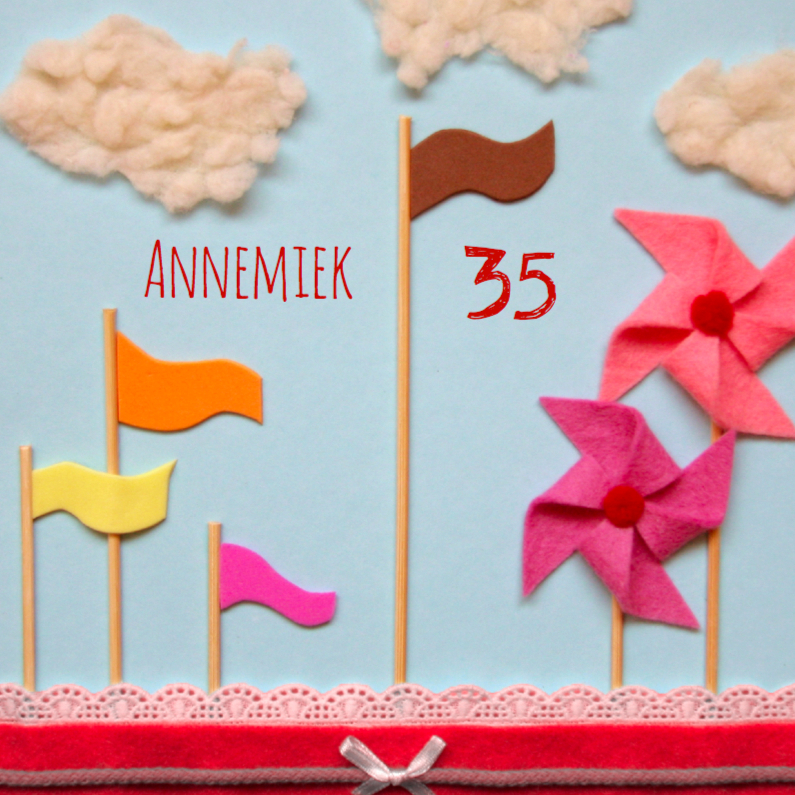 Verjaardagskaarten - Vlaggetjes en windmolens
