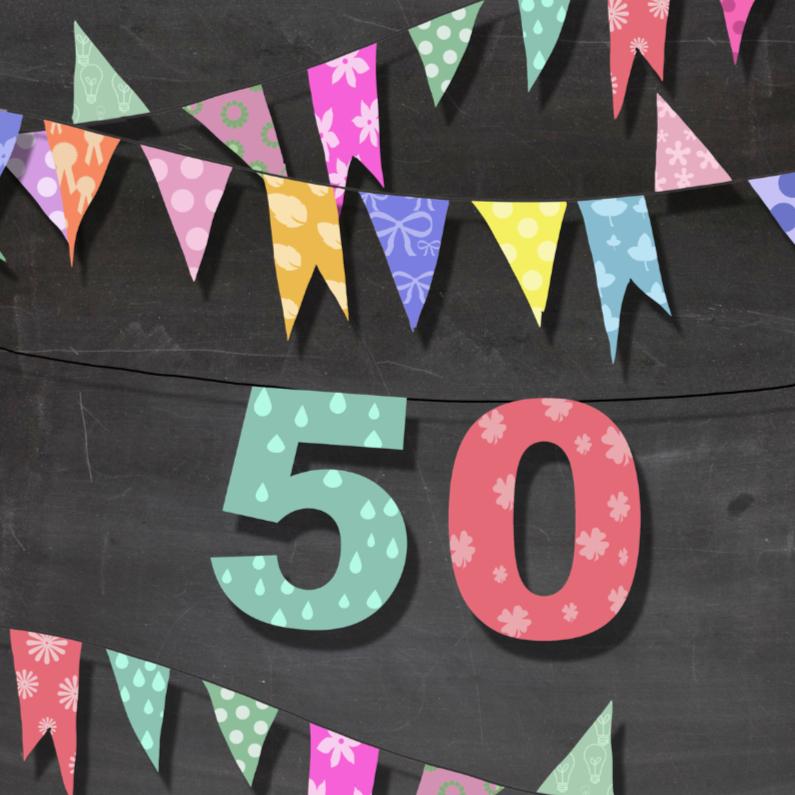 Verjaardagskaarten - Vlaggetjes, krijtbord en 50