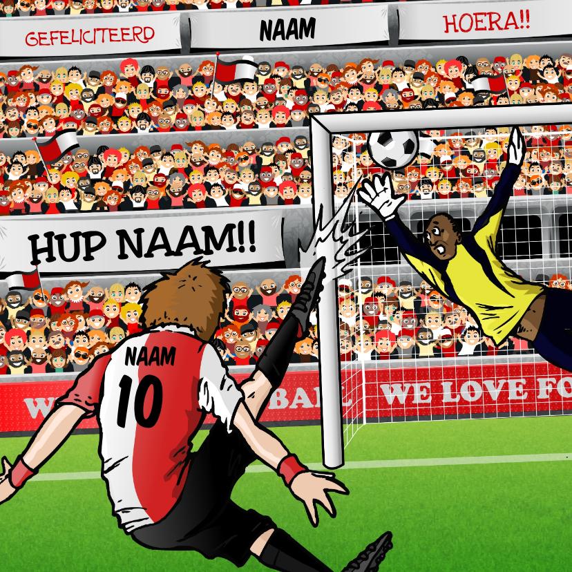 Verjaardagskaarten -  Voetbal Kaart in Rotterdamse kleuren