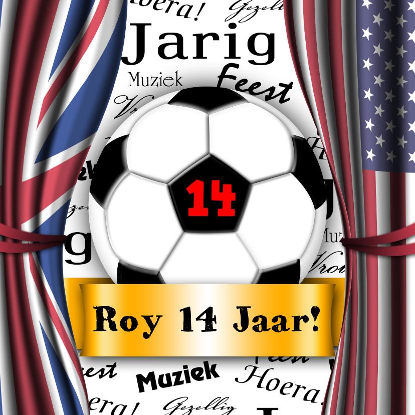 Verjaardagskaarten - voetbal stoer vlaggen zelf invullen