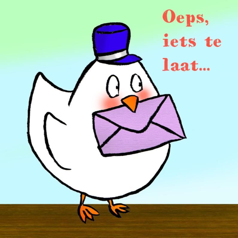 Verjaardagskaarten - Vogel met envelop te laat