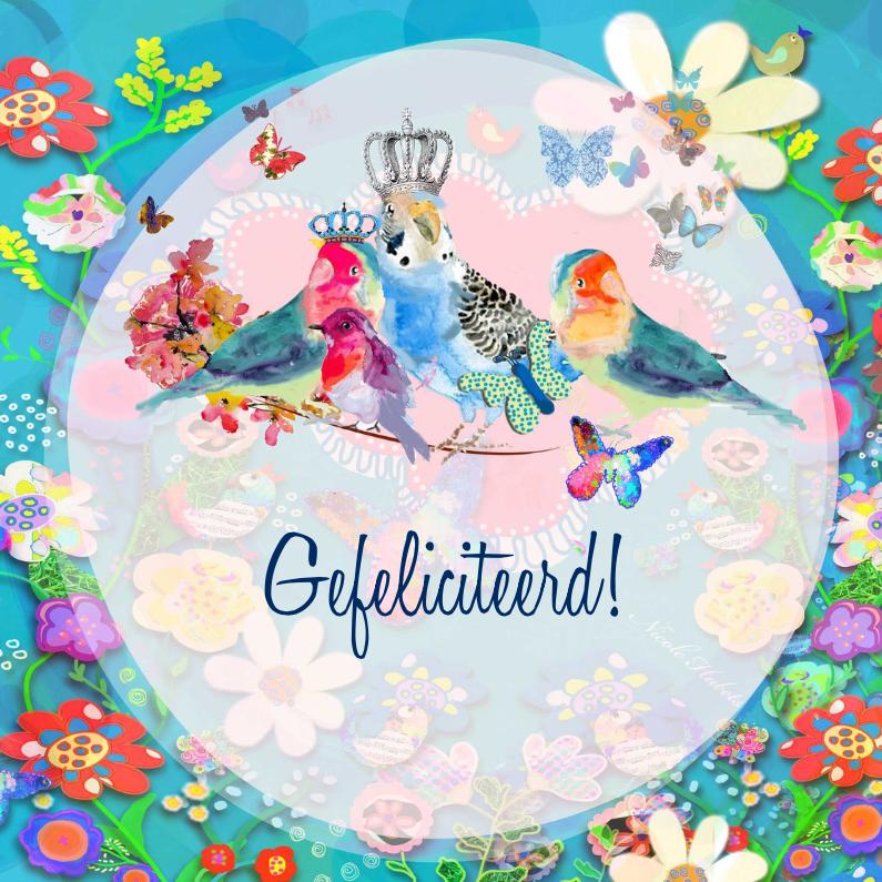 Verjaardagskaarten - Vogels met kroon en bloemen
