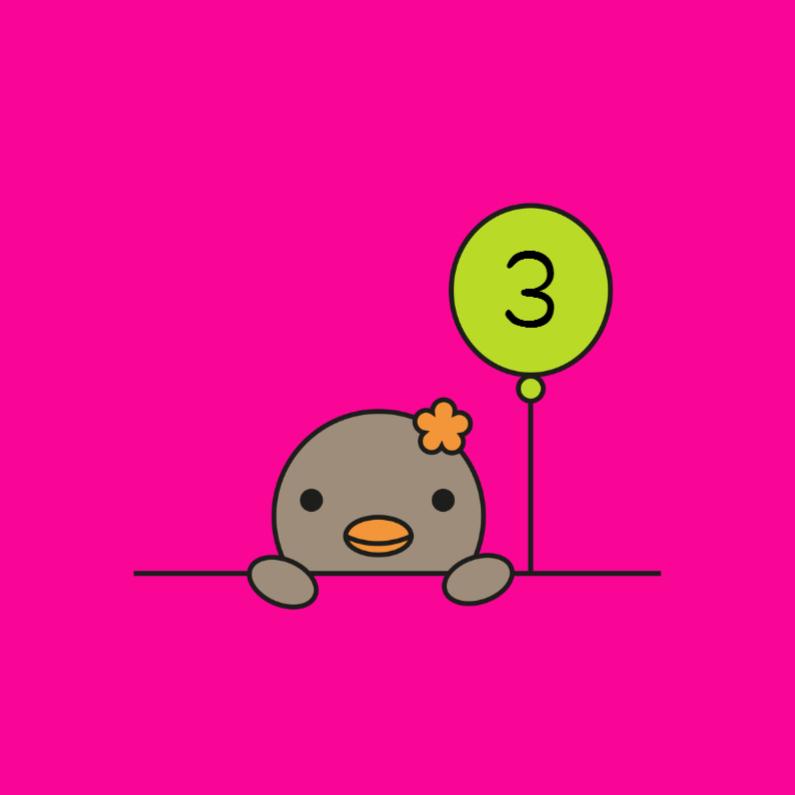 Verjaardagskaarten - Vogeltje meisje, ballon