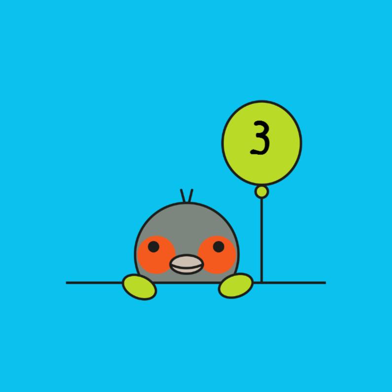 Verjaardagskaarten - Vogeltje met groene ballon