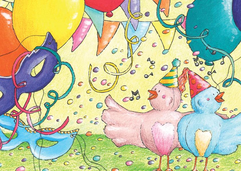 Verjaardagskaarten - Vogeltjes in februari