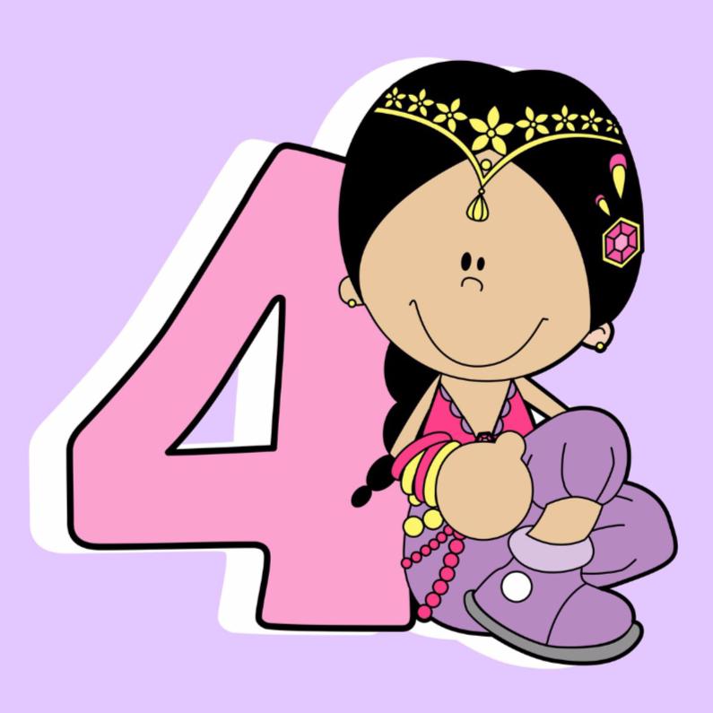Verjaardagskaarten - Voor een prinses van 4 jaar.