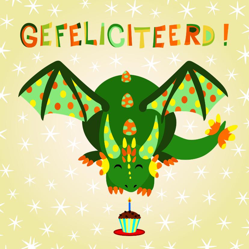 Verjaardagskaarten - Vrolijke en kleurrijke verjaardagskaart met groene draak