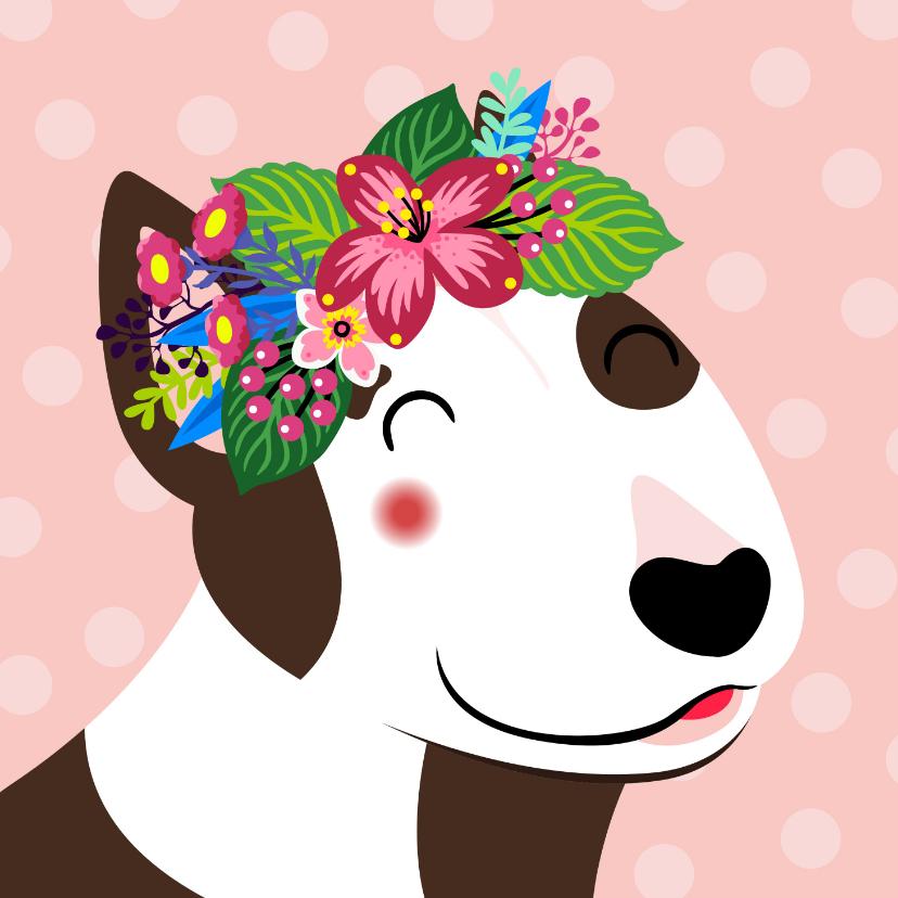 Verjaardagskaarten - Vrolijke en kleurrijke verjaardagskaart met hond en bloemen